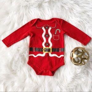 Holiday Time Baby Santa Onsie 12M Long Sleeve Red